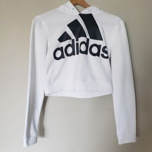 ADIDAS White Cropped French Terry Hoodie